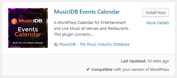 MusicIDB Calendar WordPress Plugin