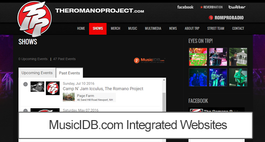 Artist Integrated Websites