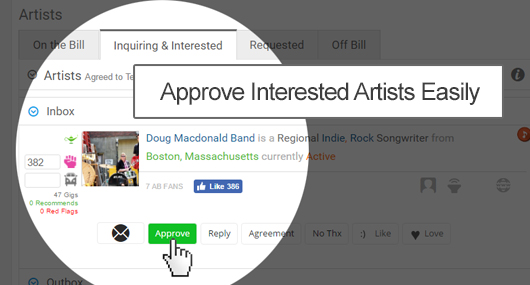 Approve interested artists