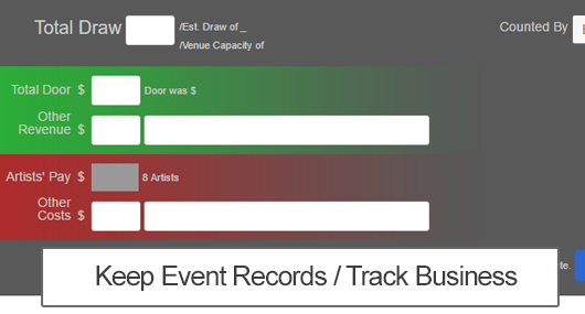 Keep Event Records and Track Live Music Business