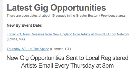Your gig opportunities are distributed to all registered artists