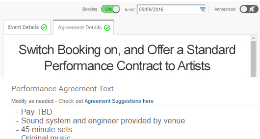 List open dates with suggestedperformance contracts